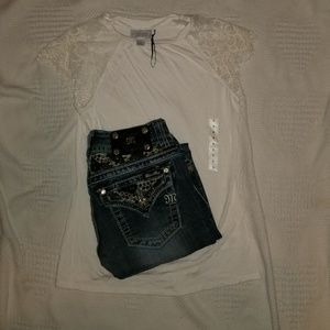 Miss Me Jean's and Shirt Outfit sz 25/S